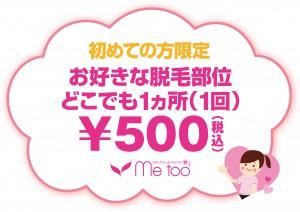 1ヵ所500円POP